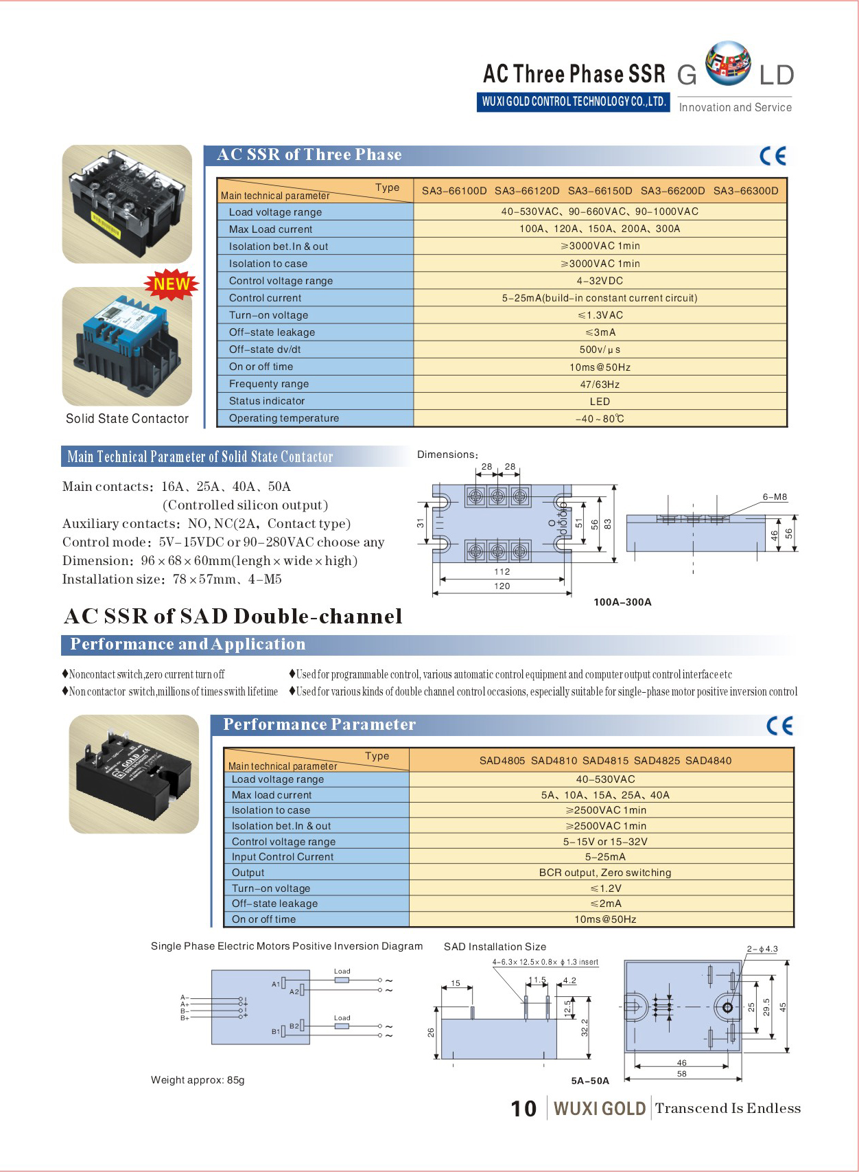 Ac Ssr Of Three Phase Solid State Relaysa3 Series100a 300a Relay Load Off Leakage 3ma 10 Status Indicator In Led And Out On 11 Operating Temperature 4080c 12 Output Zero Switching Random